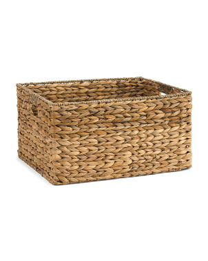 Large Water Hyacinth Basket With Seagrass Border
