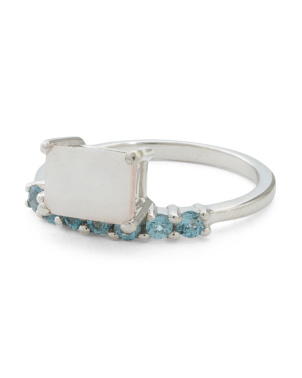 Made In India Sterling Silver Moonstone And Blue Topaz Ring