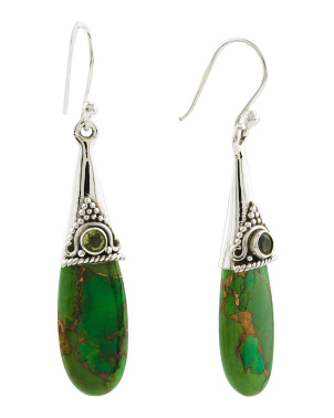 Made In India Sterling Silver Peridot Turquoise Earrings
