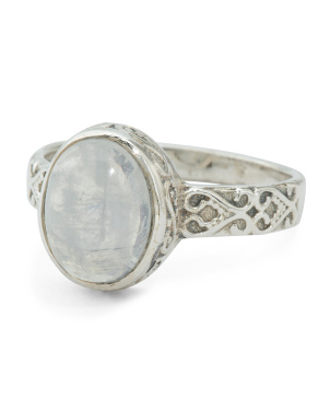 Made In India Sterling Silver Rainbow Moonstone Ring
