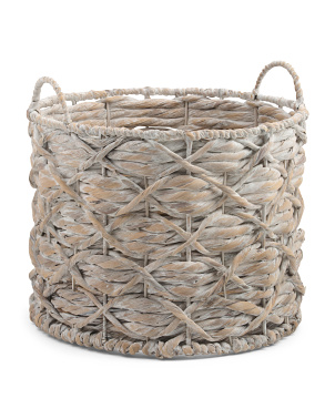 Small Water Hyacinth Round X Twisted Weave Basket
