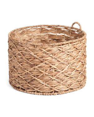 Xl Water Hyacinth Round X Twisted Weave Basket