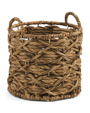 Xs Water Hyacinth Round Twisted Weave Basket