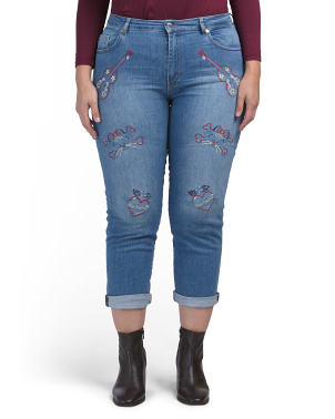 Embroidered Denim Pants