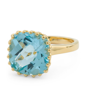 Made In India 14k Gold Plated Silver Blue Topaz Ting