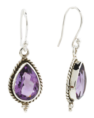 Made In India Sterling Silver Amethyst Teardrop Earrings