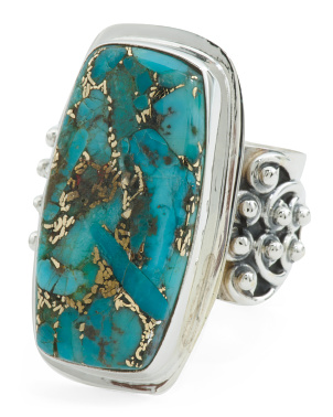 Made In India Sterling Silver Blue Copper Turquoise Ring