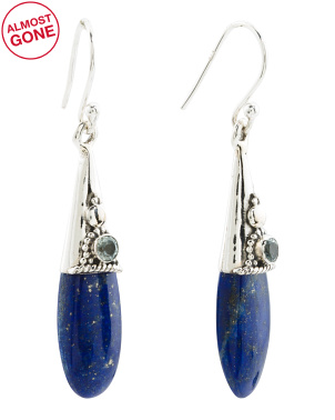 Made In India Sterling Silver Lapis And Blue Topaz Earrings