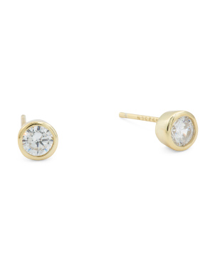 14k Gold Plated Sterling Silver 5mm Cz Stud Earrings