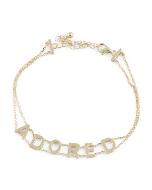 14k Gold Plated Sterling Silver Adored Bracelet
