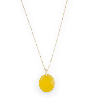 14k Gold Plated Sterling Silver Synthetic Citrine Stone Necklace