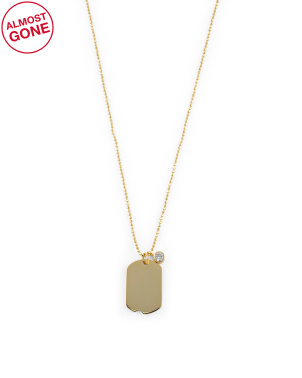14k Gold Plated Sterling Silver Cz Dog Tag Necklace
