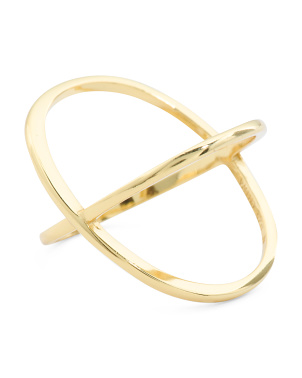 14k Gold Plated Sterling Silver X Ring