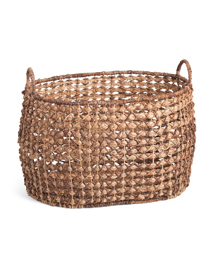 Large X Weave And Braided Weave Bloated Oval Basket