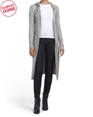 Juniors Brushed Thermal Long Hooded Cardigan