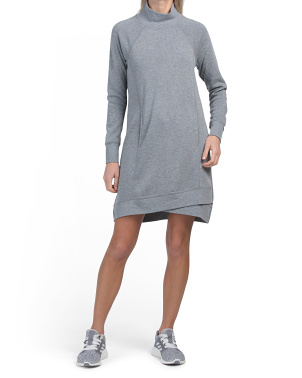 High Neck & Cross Over Hem Fleece Dress