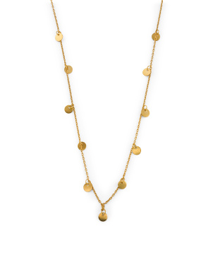 14k Gold Plated Vermeil Charm Disk Necklace