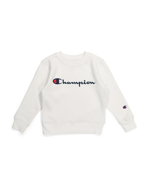 Little Boy Embroidered Fleece Crew Neck Sweatshirt