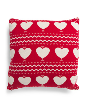 20x20 Knitted Heart Pillow