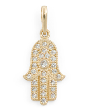 Handmade In Usa 14k Gold Cz Hamsa Charm