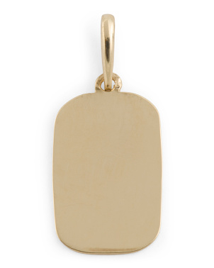 Handmade In Usa 14k Gold Engravable Tag Charm