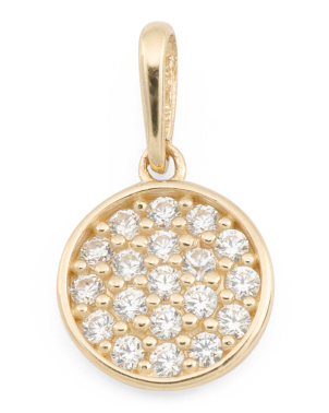 Handmade In Usa 14k Gold Pave Cz Disc Charm