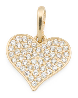 Handmade In Usa 14k Gold Pave Cz Heart Charm