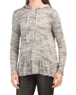 Camo Print Hooded Hacci Top
