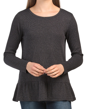 Double Face Thermal Tunic With Ruffle Detail
