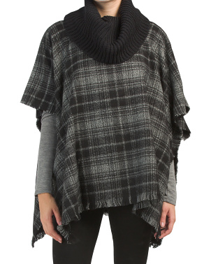 Plaid Poncho With Turtleneck