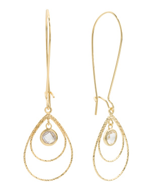 Made In Italy 18k Gold Plated Sterling Dc Drop Cz Earrings