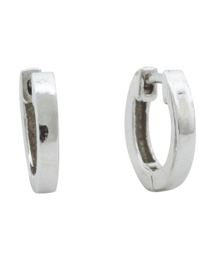 Made In Italy Platinum Plated Sterling Silver Hoop Earrings