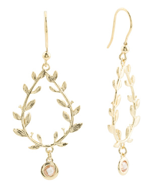 Made In Italy 18k Gold Plated Sterling Silver Leaf Earrings