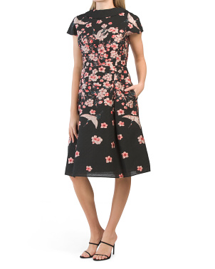 Cap Sleeve Floral Jacquard Dress