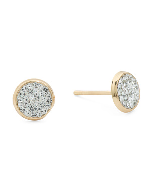 Made In Italy 14k Gold Crystal Stud Earrings