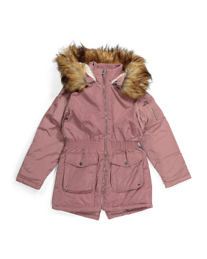 Big Girls Faux Sherpa Parka