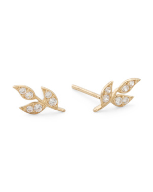 Made In Italy 14k Gold Cz Leaf Stud Earrings