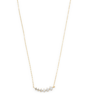Made In Italy 14k Gold Graduated Cz Curved Necklace