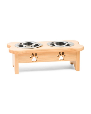 Made In The Usa Elevated Wood Pet Feeder