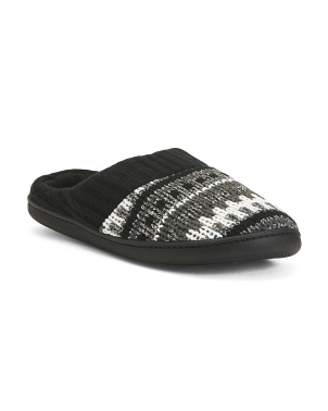 Fair Isle Shimmer Knit Slippers