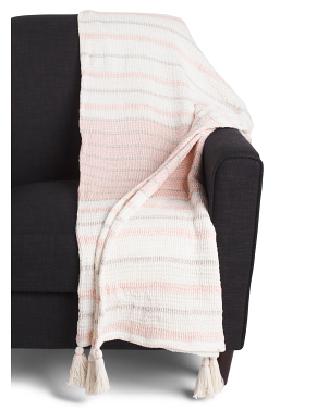 Kayla Cotton Gauze Throw With Tassels