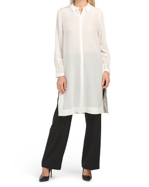Silk Long Sleeve Tunic Blouse
