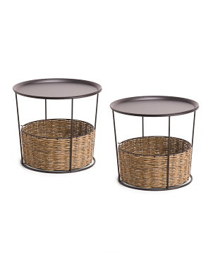 Set Of 2 Woven Accent Tables