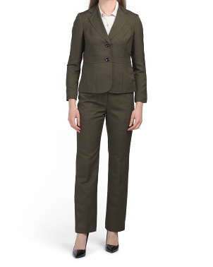 Petite 2 Button Notch Collar Jacket Seamed Pantsuit