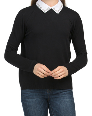 Juniors Sweater With Woven Collar