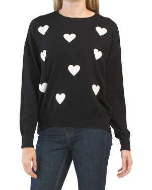 Juniors Fur Heart Sweater