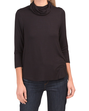 Made In Usa Jersey Cowl Neck Top With Ear Loops