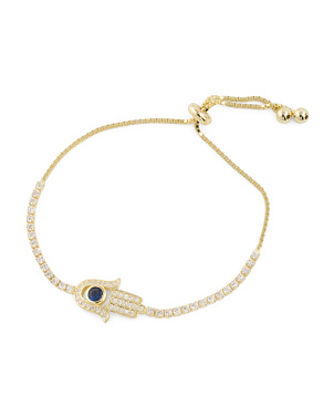 14k Gold Plated Sterling Silver Adjustable Hamsa Cz Bracelet