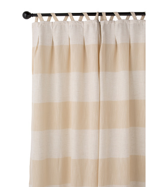 24x84 Set Of 2 Daya Cabana Stripe Metallic Linen Look Curtains