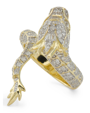 14k Gold Plated Sterling Silver Cz Dragon Ring